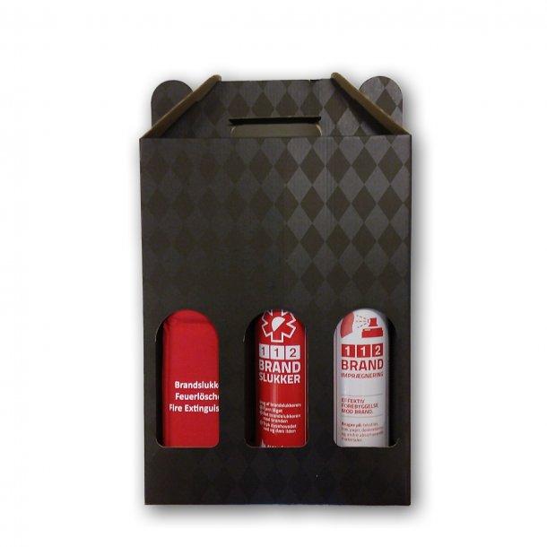 112 brandslukker, isoleret taske til brandslukker og imprægneringsspray i gaveæske